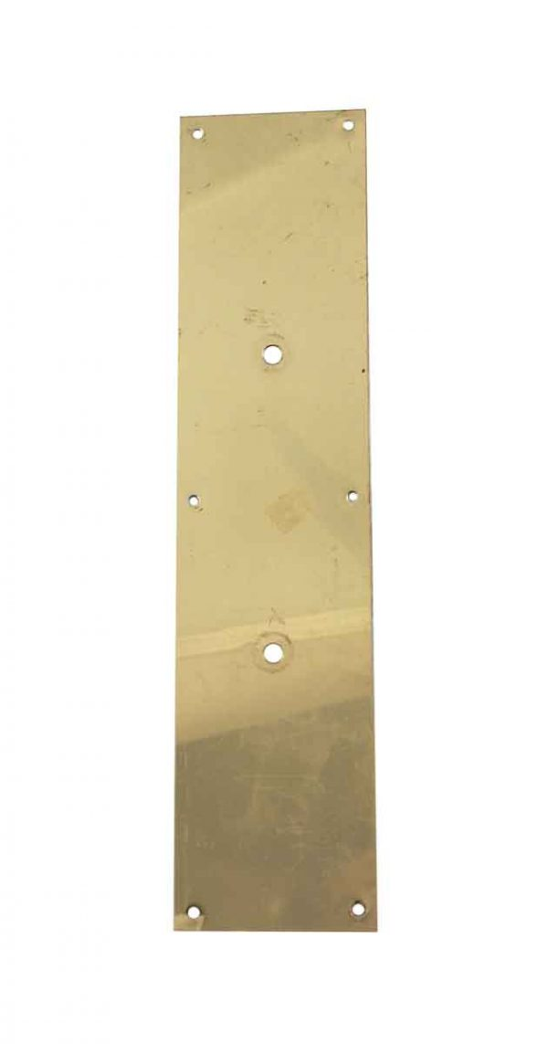 Push Plates - Vintage Plain 15 in. Polished Brass Door Pull Back Plate