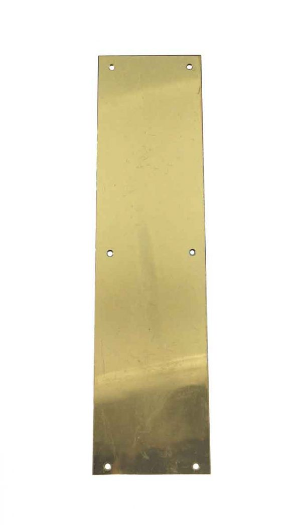 Push Plates - Vintage Plain 16 in. Polished Brass Door Push Plate