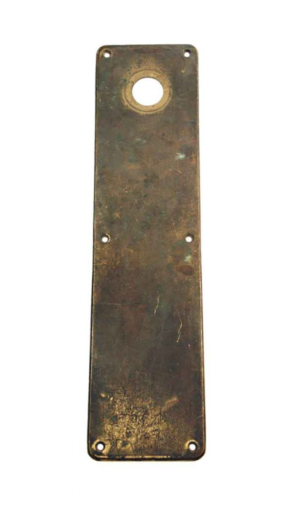 Push Plates - Vintage Plain 16 in. Yale Brass Door Push Plate with Lock Insert