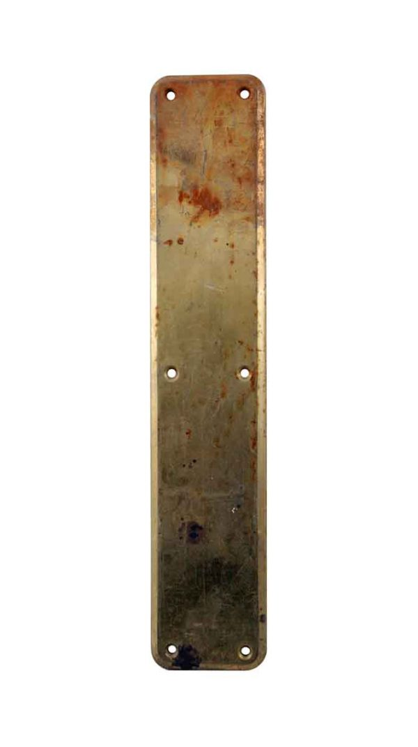 Push Plates - Vintage Polished 14 in. Brass Door Push Plate