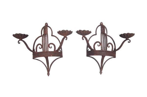 Sconces & Wall Lighting - Pair of Art Deco Wrought Iron 2 Arm Wall Sconces