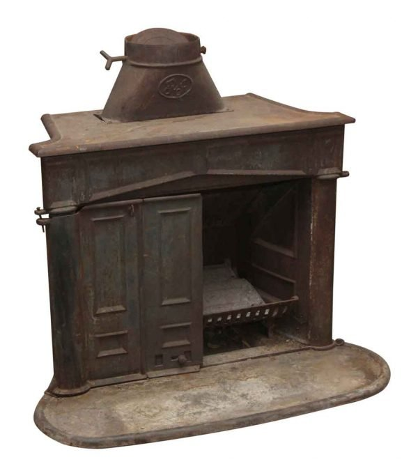 Screens & Covers - Salvaged Cast Iron Wood Burning Firebox with Log Holder