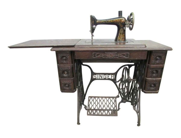 Sewing Machines - Antique Singer Sewing Machine with Wood Top & Cast Iron Base