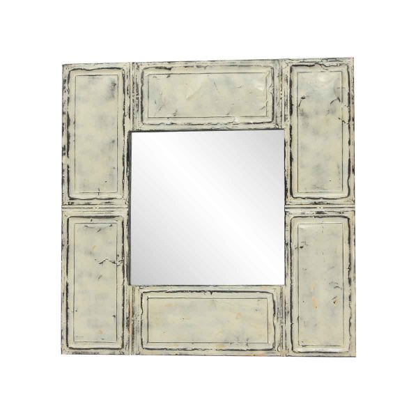 Antique Tin Mirrors - Antique Cream Color Ceiling Tin Crafted Square Wall Mirror