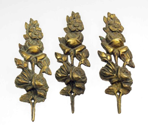 Applique - Antique Three Piece Floral Bronze Applique Set