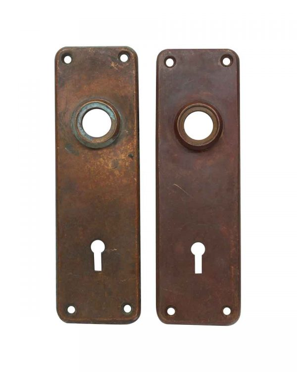 Back Plates - Pair of Antique 6.5 in. Bronze Sargent Door Back Plates