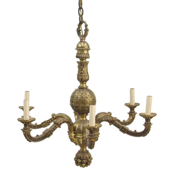 Chandeliers - 1930s French Cast Bronze Chandelier with Intricate Detail