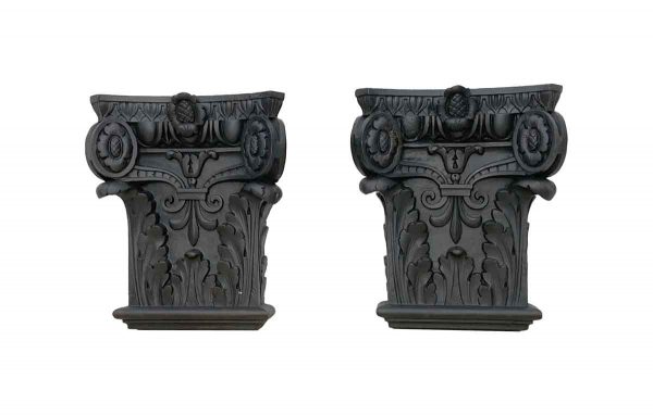 Columns & Pilasters - 1890s Pair of Restored Antique NYC Cast Iron Capitals