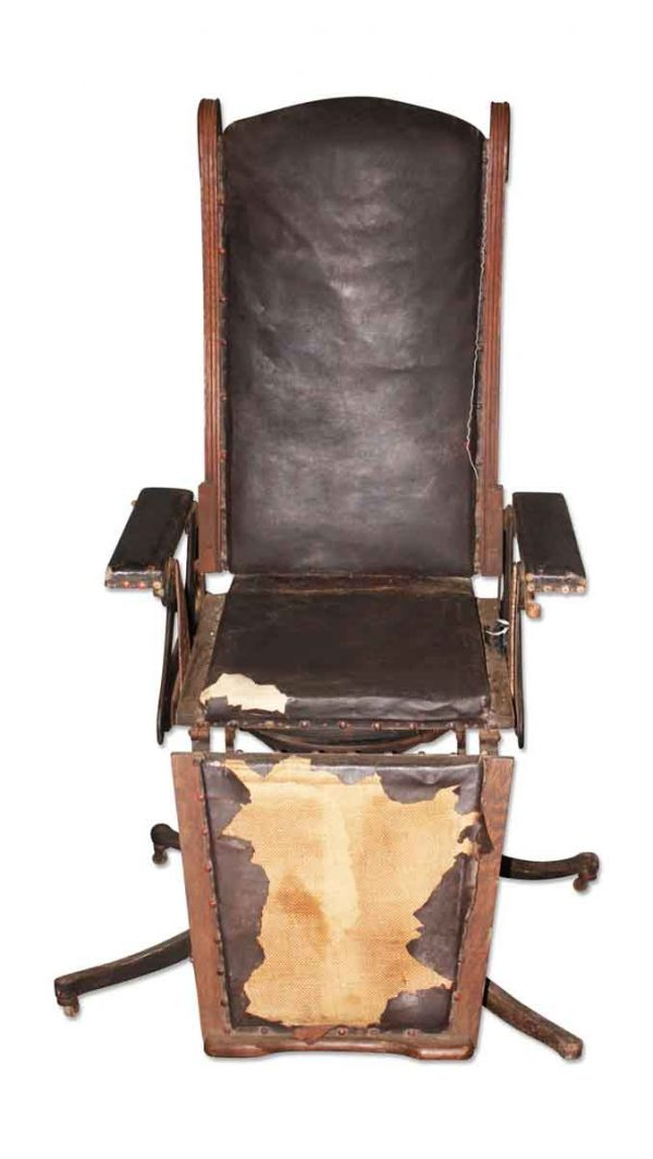 Commercial Furniture - Antique 1880s Brown Leather Polyclinic Chair Restorable Condition