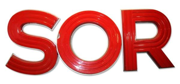 Flea Market - Set of S O R Red Light Up 58 in. Letters