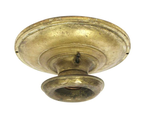 Flush & Semi Flush Mounts - 1910s Single Socket Traditional Brass Flush Mount Light