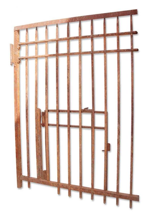 Gates - Tall Antique Wrought Iron Gate with Escape Hatch