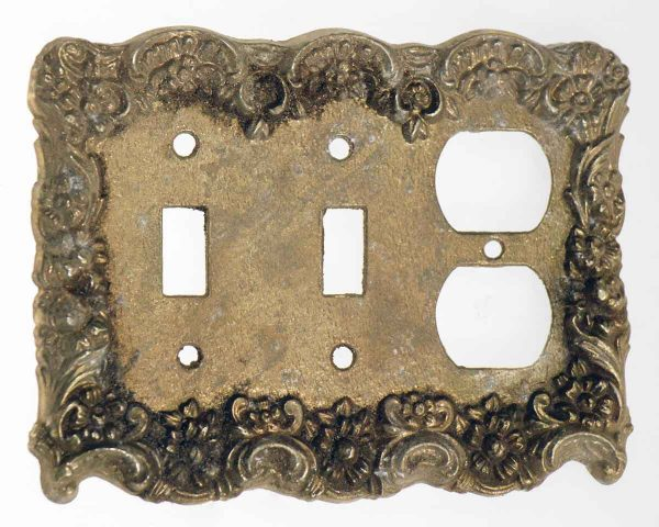 Lighting & Electrical Hardware - Vintage Brass Dual Switch & Outlet Cover