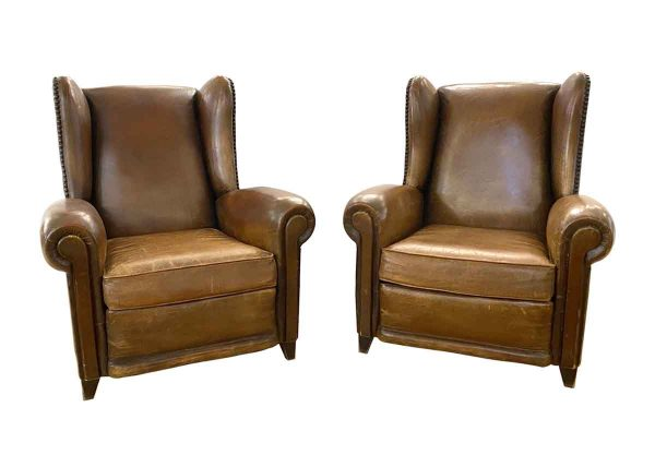 Living Room - Pair of Vintage French Leather Studded Bergere Chairs