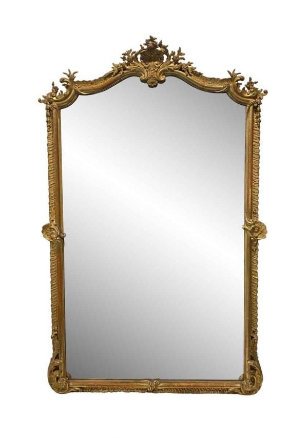 Overmantels & Mirrors - Antique French Gesso & Carved Gilt Wood Mirror