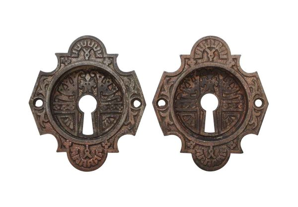 Pocket Door Hardware - Pair of Cast Iron Antique Aesthetic Pocket Door Plates