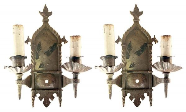 Sconces & Wall Lighting - Antique 2 Arm Spanish Colonial Iron Wall Sconces