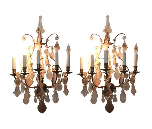 Sconces & Wall Lighting - Antique 5 Arm Baccarat Bronze & Crystal Wall Sconces