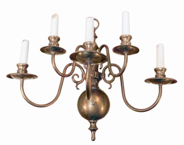 Sconces & Wall Lighting - Antique 5 Arm Copper Finish Colonial Sconce