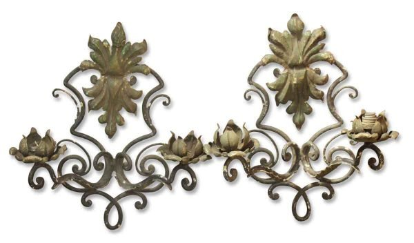 Sconces & Wall Lighting - Antique French Wrought Iron 2 Arm Wall Sconces
