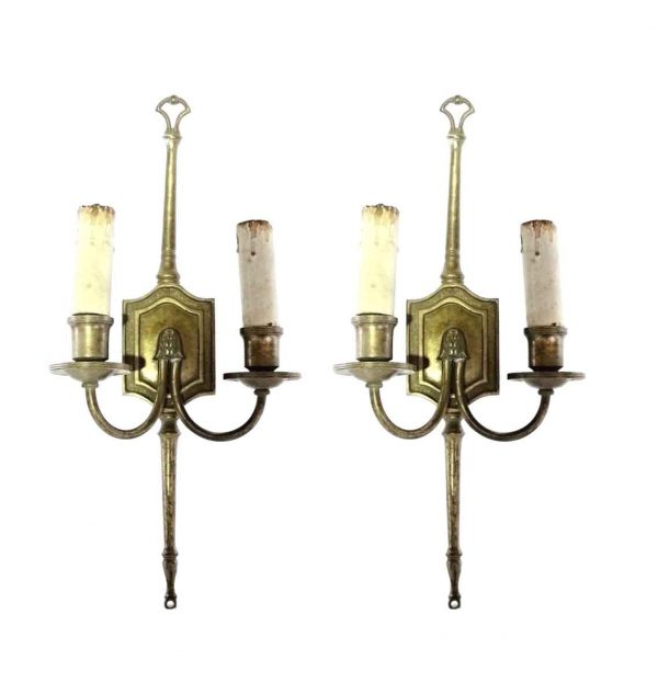 Sconces & Wall Lighting - Antique Tall 2 Arm Brass Colonial Wall Sconces