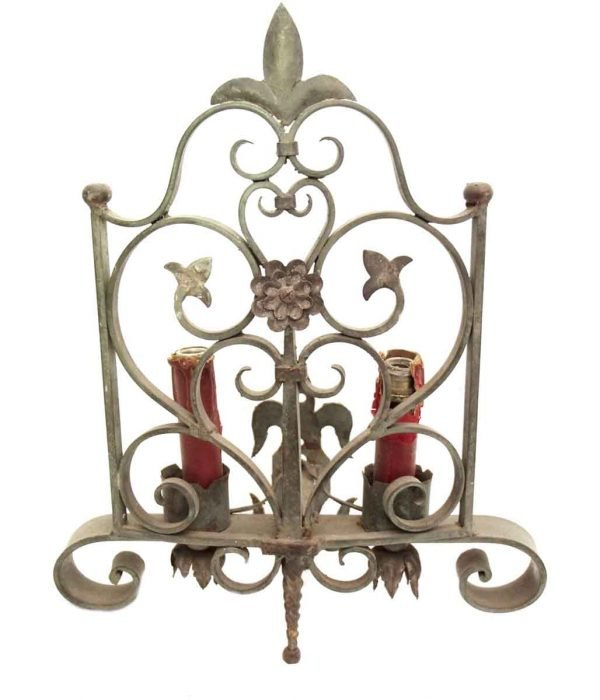 Sconces & Wall Lighting - Antique Two Arm French Fleur de Lis Wall Sconce