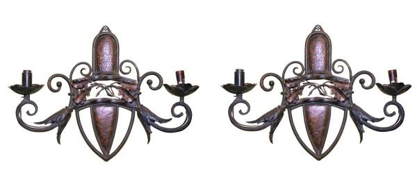 Sconces & Wall Lighting - Arts & Crafts 2 Arm Hammered Copper & Iron Wall Sconces