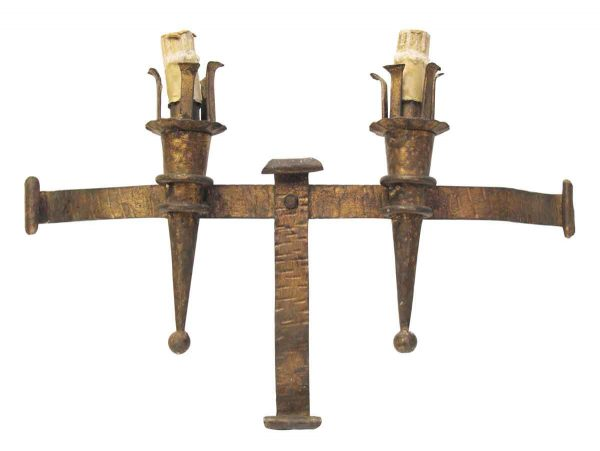 Sconces & Wall Lighting - Arts & Crafts Wrought Iron Two Arm Wall Sconce