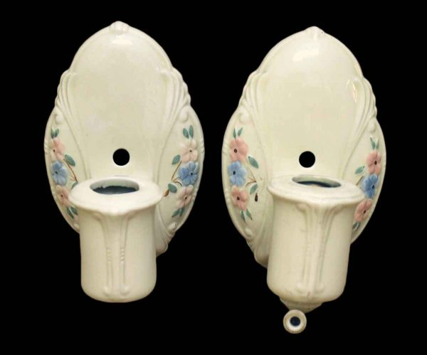 Sconces & Wall Lighting - Pair of 1930s Floral Bathroom Porcelain Wall Sconces