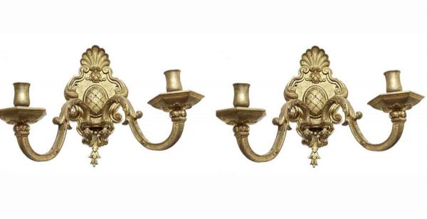 Sconces & Wall Lighting - Pair of Antique Brass French Two Arm Wall Sconces