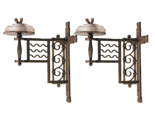 Sconces & Wall Lighting - Pair of Art Deco 1 Arm Iron Wall Sconces
