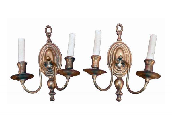 Sconces & Wall Lighting - Pair of Colonial Copper 2 Arm Wall Sconces