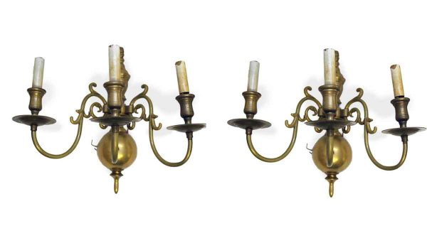 Sconces & Wall Lighting - Pair of Colonial Revival Brass 3 Arm Wall Sconces