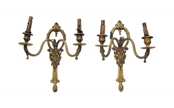 Sconces & Wall Lighting - Pair of French 2 Arm Bronze Wall Sconces