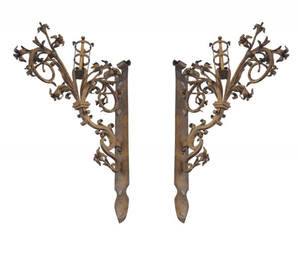 Sconces & Wall Lighting - Pair of German Hand Forged Iron Gold Gilded Floral Sconces