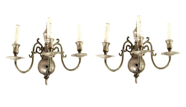Sconces & Wall Lighting - Pair of Silver Plated 3 Arm Colonial Wall Sconces