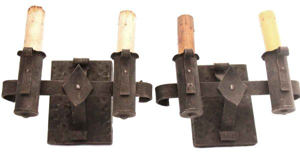 Sconces & Wall Lighting - Pair of Spanish Colonial Hammered Iron Wall Sconces