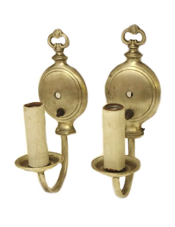 Sconces & Wall Lighting - Pair of Traditional 1 Arm Silver Over Brass Wall Sconces