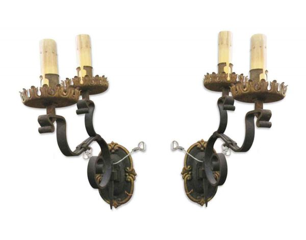 Sconces & Wall Lighting - Pair of Tudor Two Arm Wrought Iron Wall Sconces