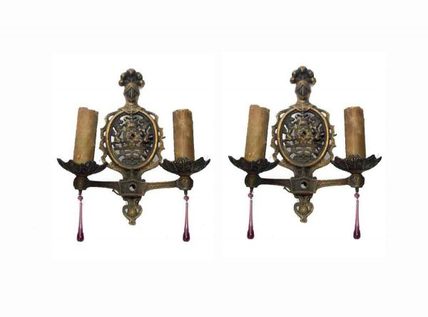 Sconces & Wall Lighting - Pair of Victorian 2 Arm Bronze Lion Crest Wall Sconces
