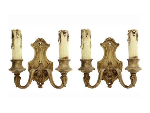 Sconces & Wall Lighting - Pair of Victorian Bronze 2 Arm Wall Sconces