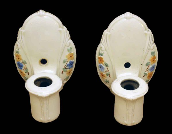 Sconces & Wall Lighting - Pair of Vintage White Floral Porcelain Wall Sconces
