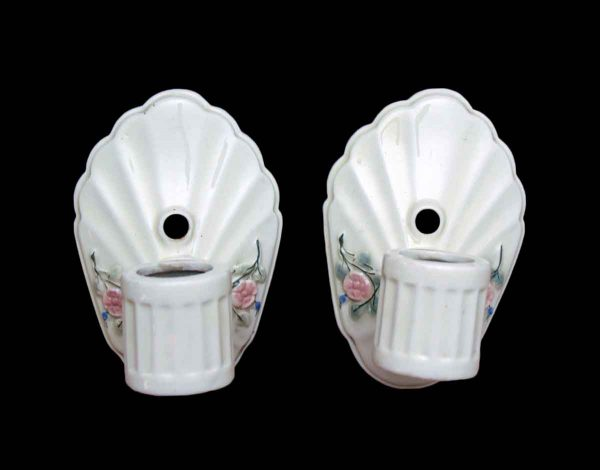 Sconces & Wall Lighting - Pair of White Floral Porcelain Wall Sconces