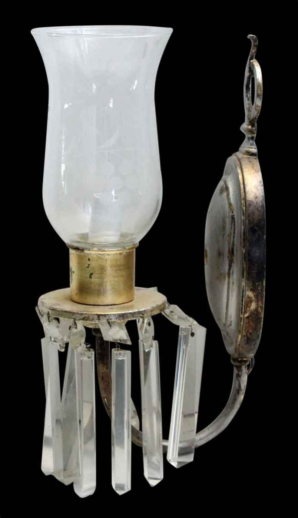 Sconces & Wall Lighting - Victorian 1 Arm Crystals Hurricane Shade Wall Sconces