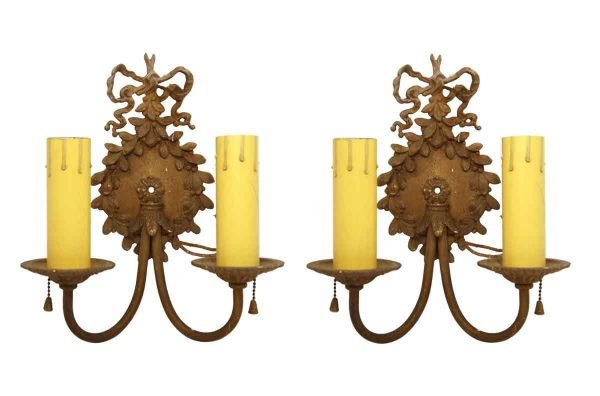 Sconces & Wall Lighting - Victorian 2 Arm Brass Beaded Ribbon Wall Sconces