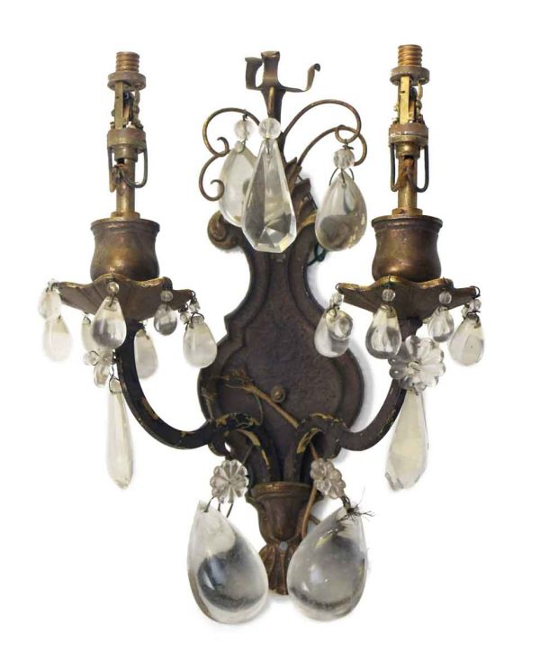 Sconces & Wall Lighting - Victorian 2 Arm Bronze Crystals Wall Sconce