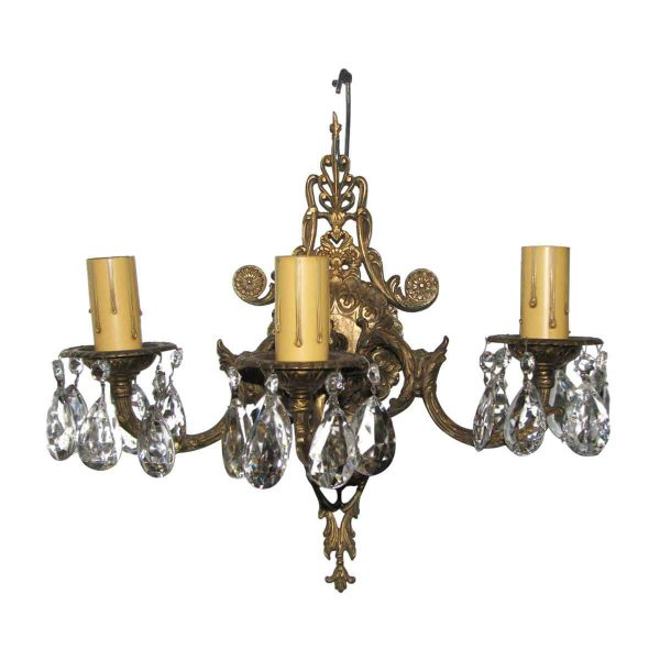 Sconces & Wall Lighting - Victorian 3 Arm Bronze & Crystal Sconce