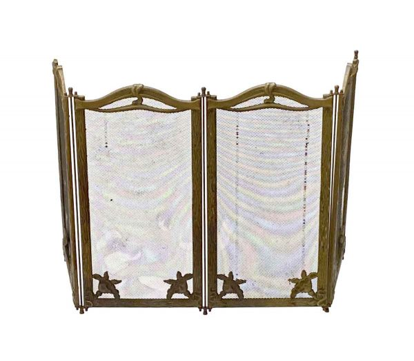 Screens & Covers - French Art Nouveau 4 Section Steel & Brass Floral Fireplace Screen