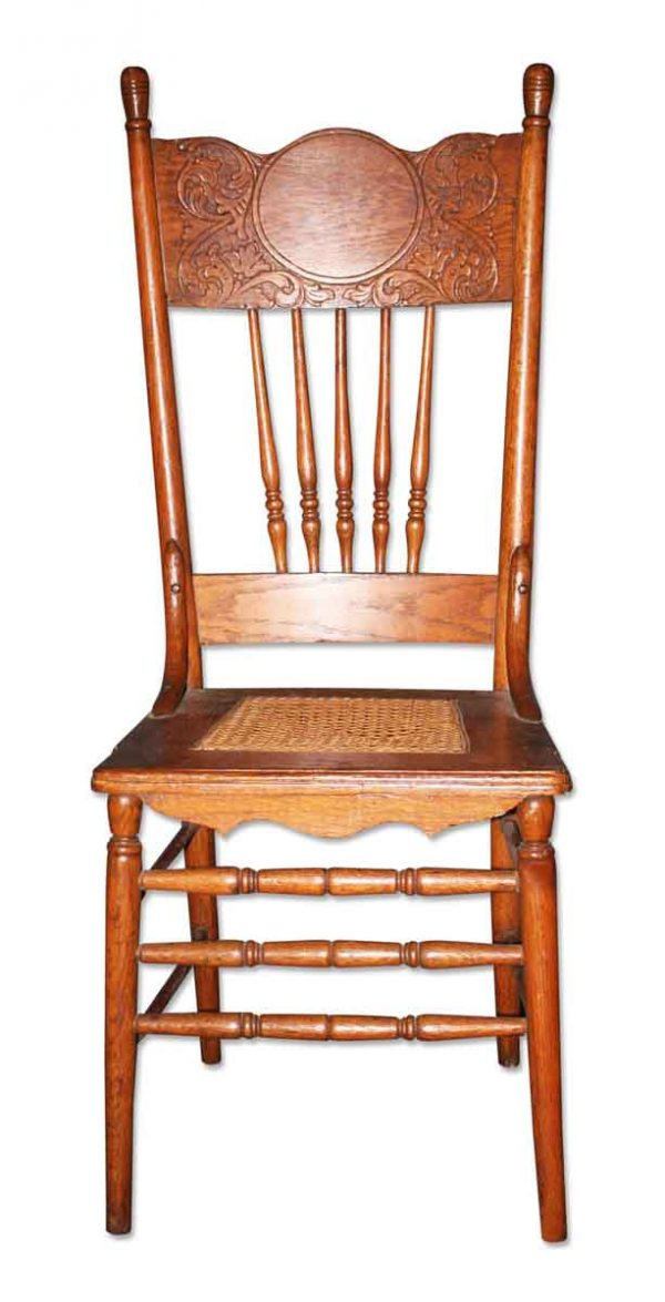 Seating - Antique Victorian Wicker Seat Oak Armless Chair