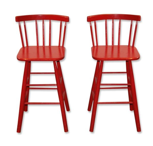 Seating - Pair of Classic Red Wooden Bar Stools
